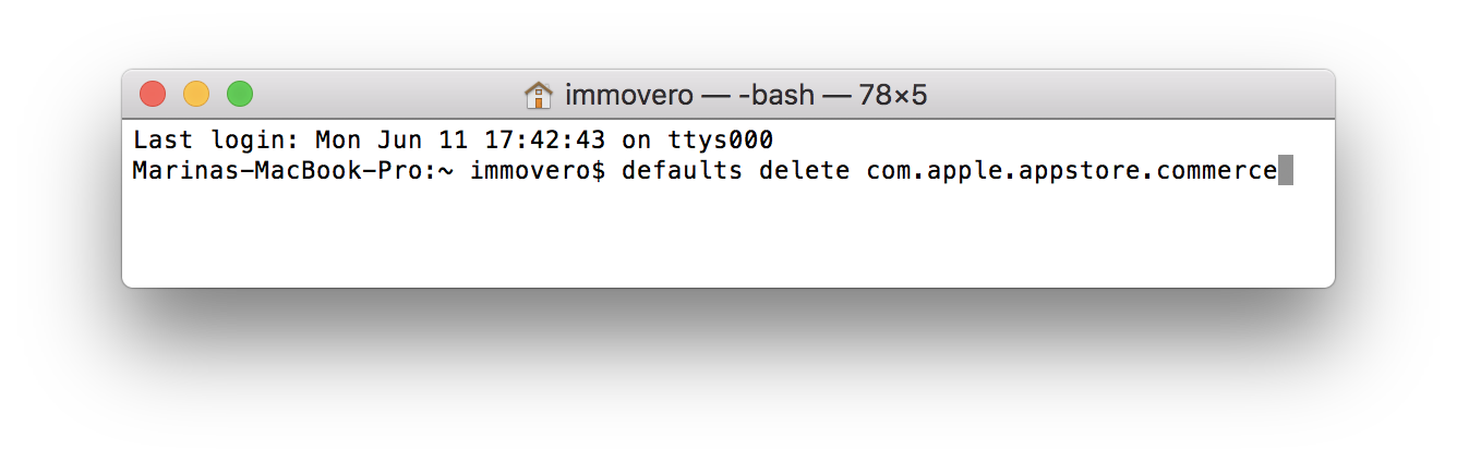 defaults delete com.apple.appstore.commerce