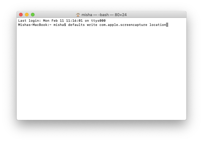 Change the default save location using Terminal