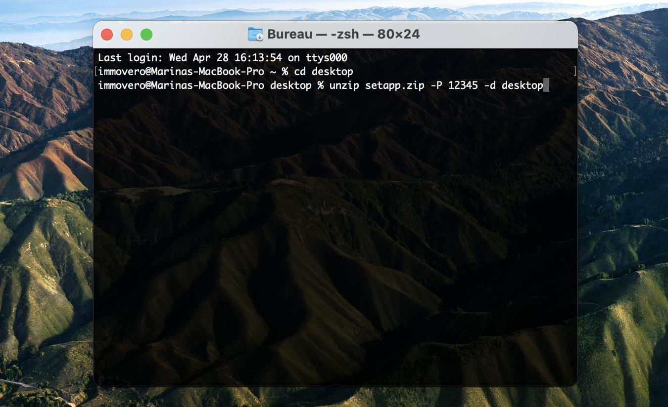 Ouvrir un fichier zip protégé par mot de passe avec Terminal