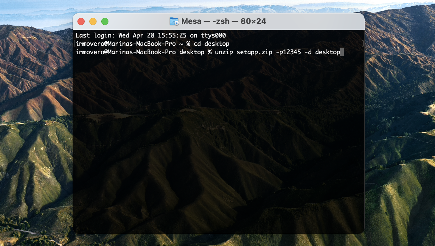 Abra arquivos zip protegidos por senha no Terminal