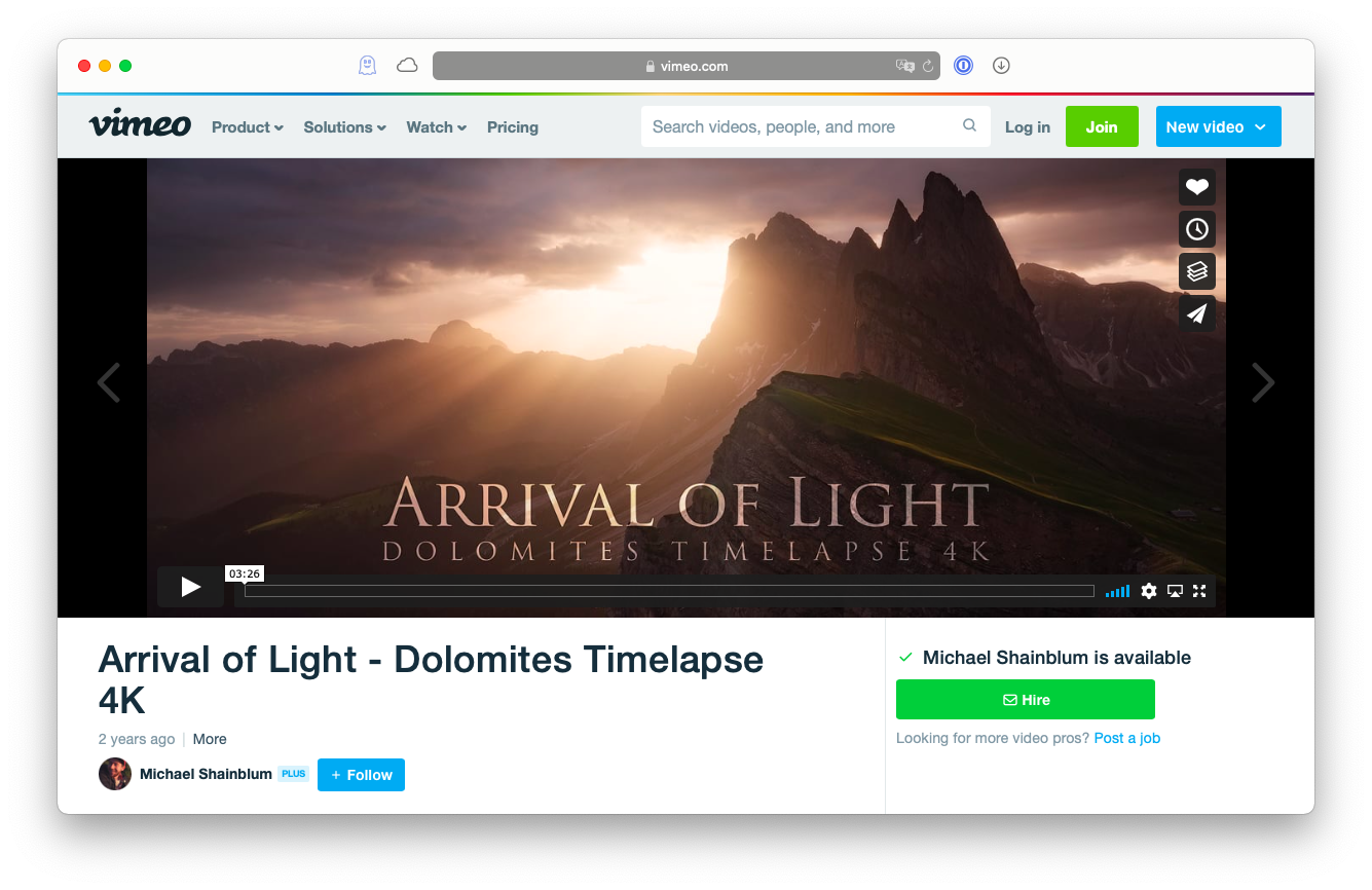 create time lapses with vimeo