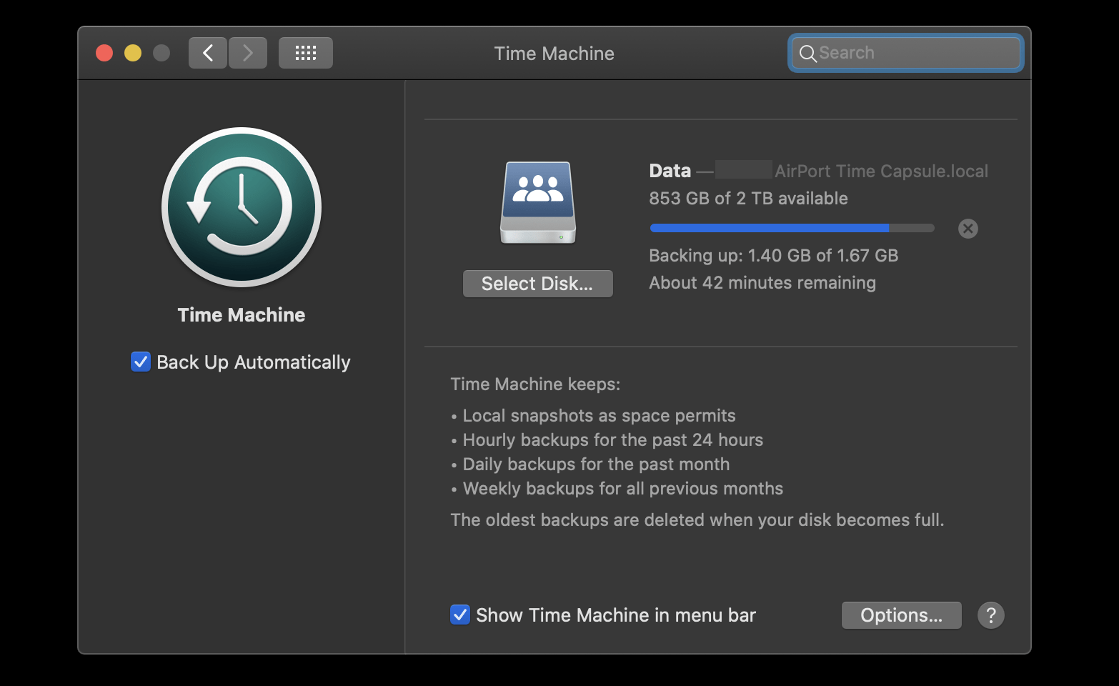 Time Machine backup