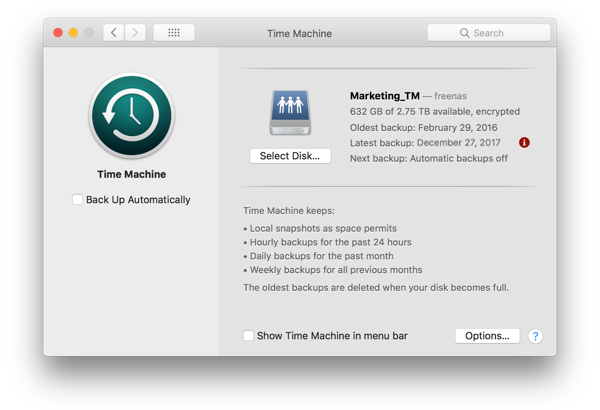 Backup Mac with Time Machine