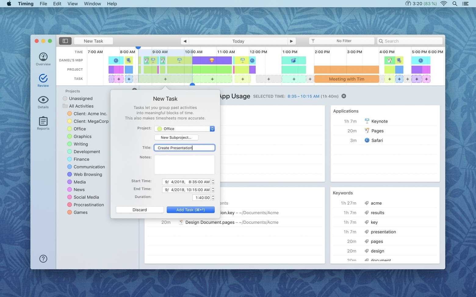 Timing app time tracking Mac