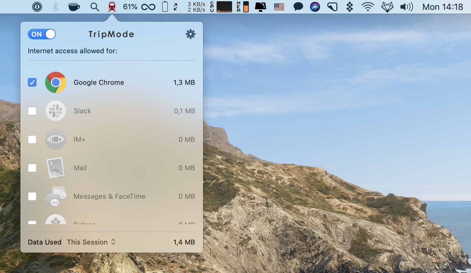 reduce your Mac's energy drain with TripMode