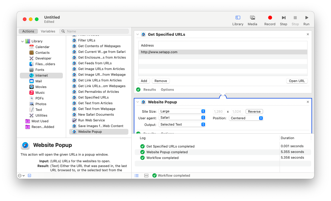 Turn websites to app with Automator