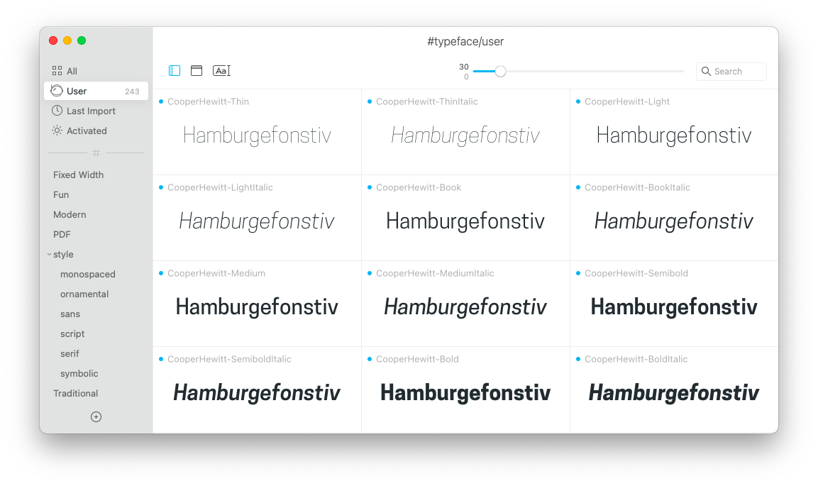fonts in Typeface