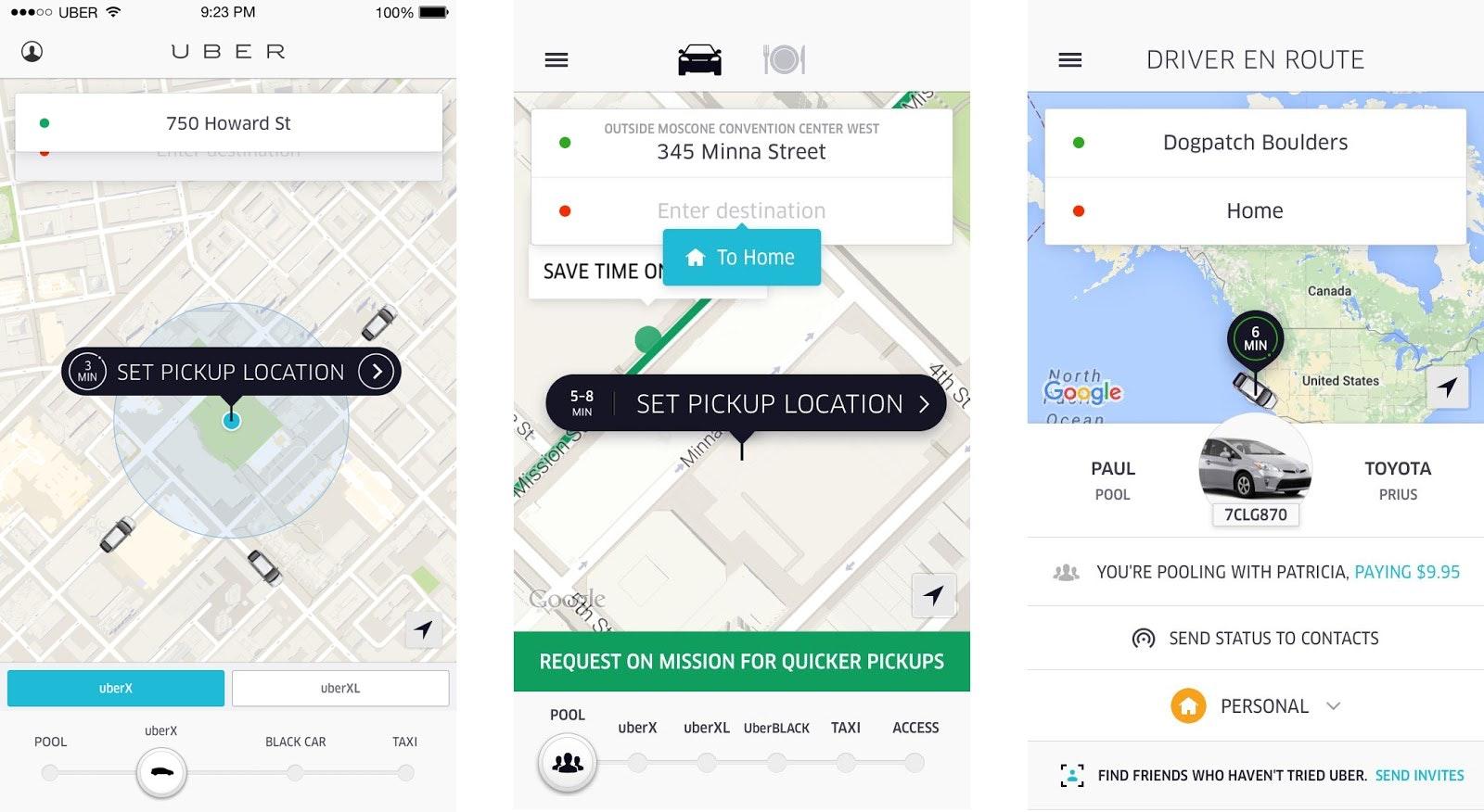 Uber app design changing 2012-2016