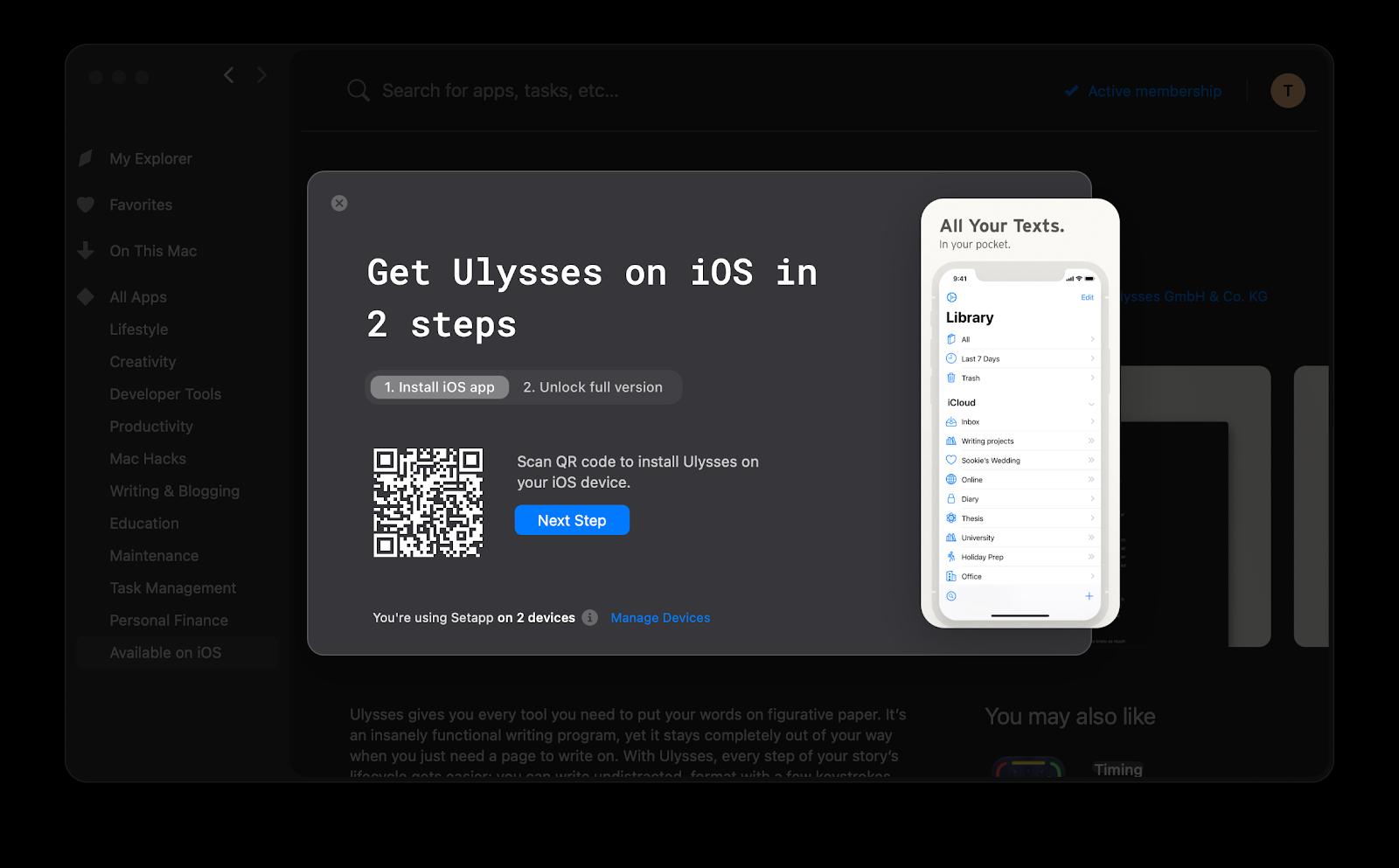 Ulysses for iOS Setapp