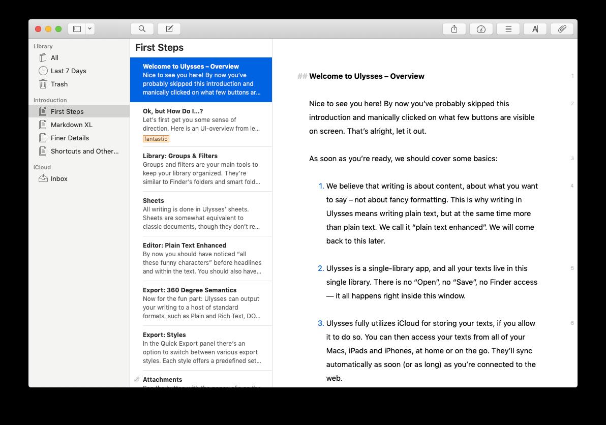 ulysses mac writing app