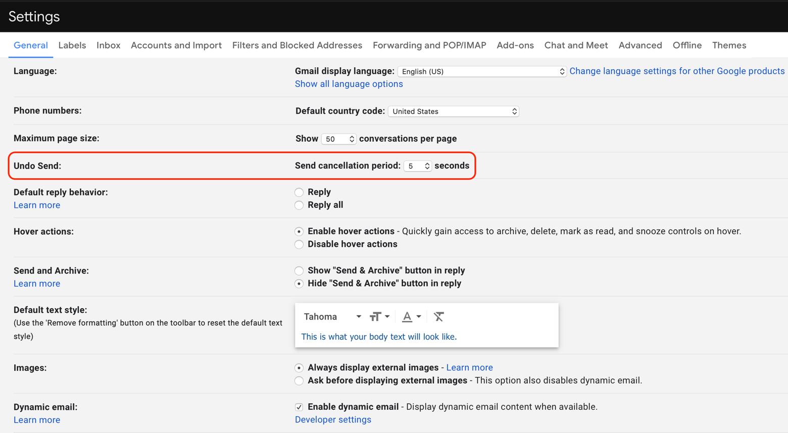 undo email Gmail settings