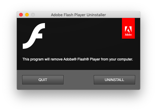 uninstall Adobe Flash player