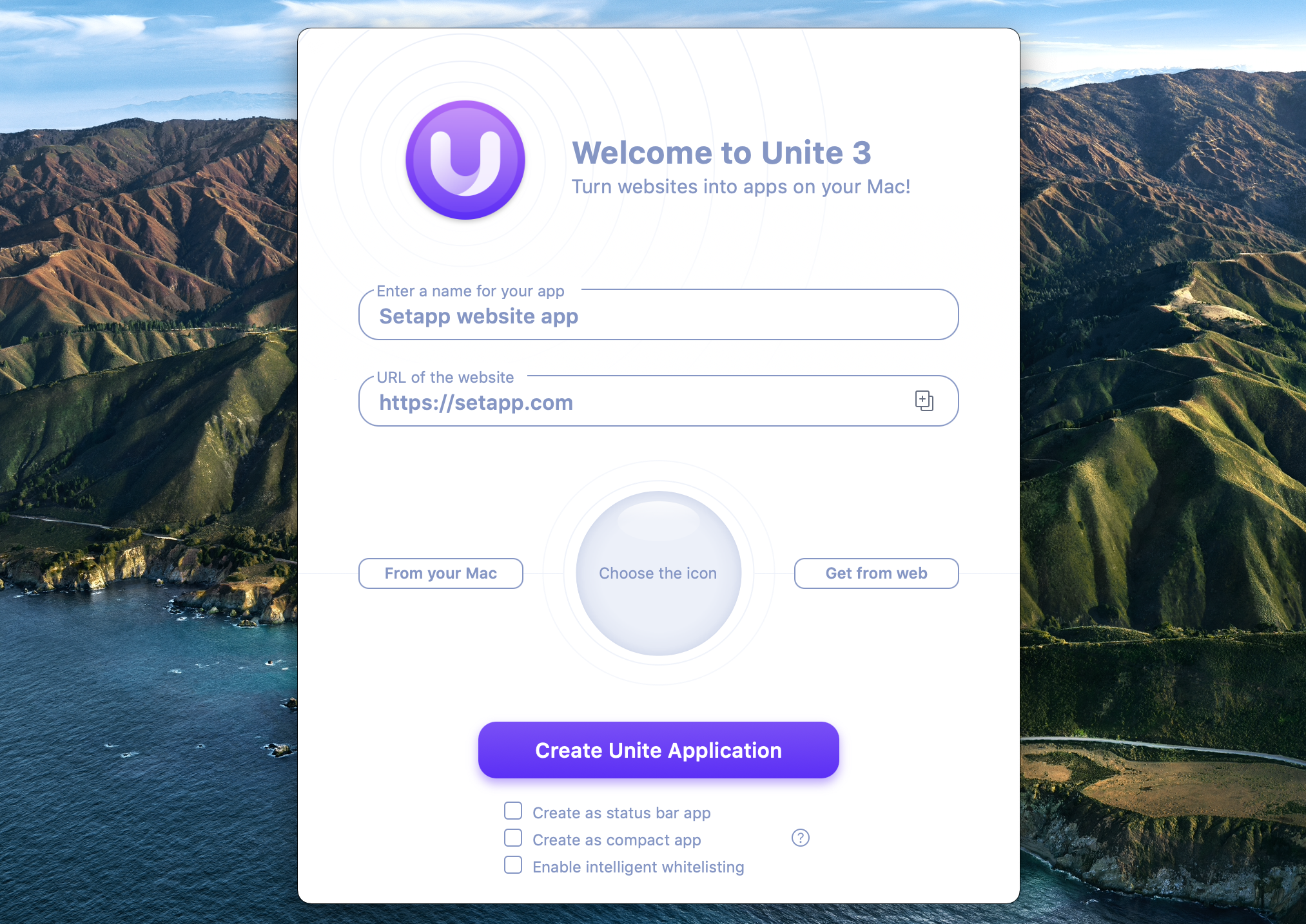 Create an app from a website with Unite 3