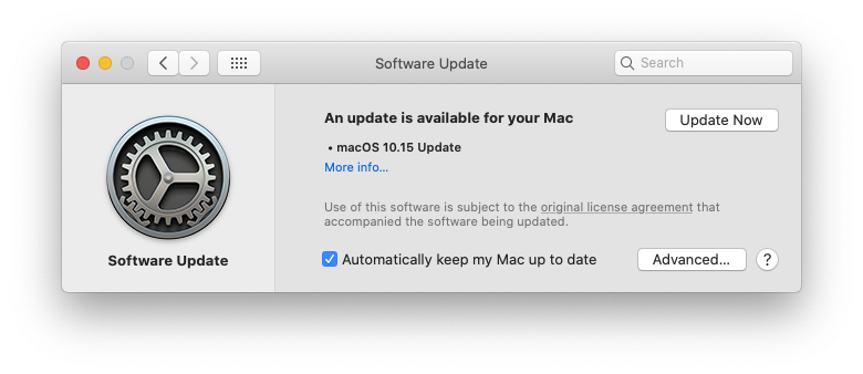 update macOS Catalina system OS