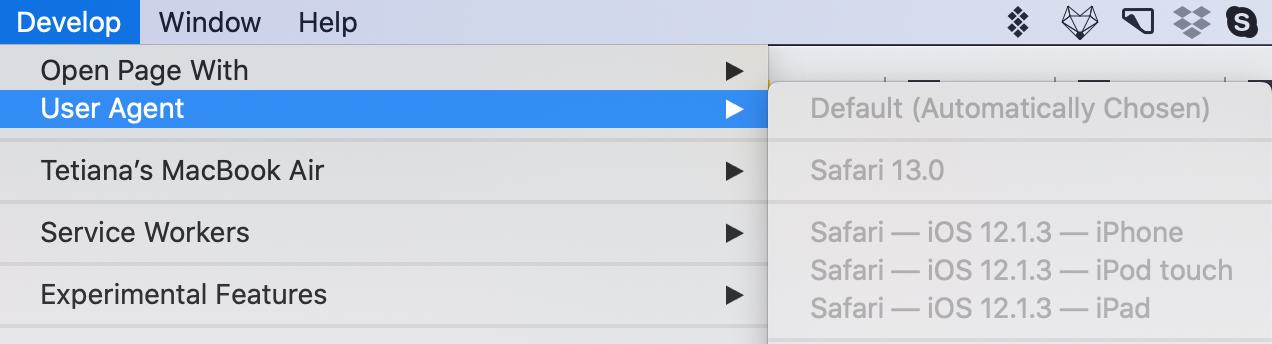 Altere o agente do usuário do navegador