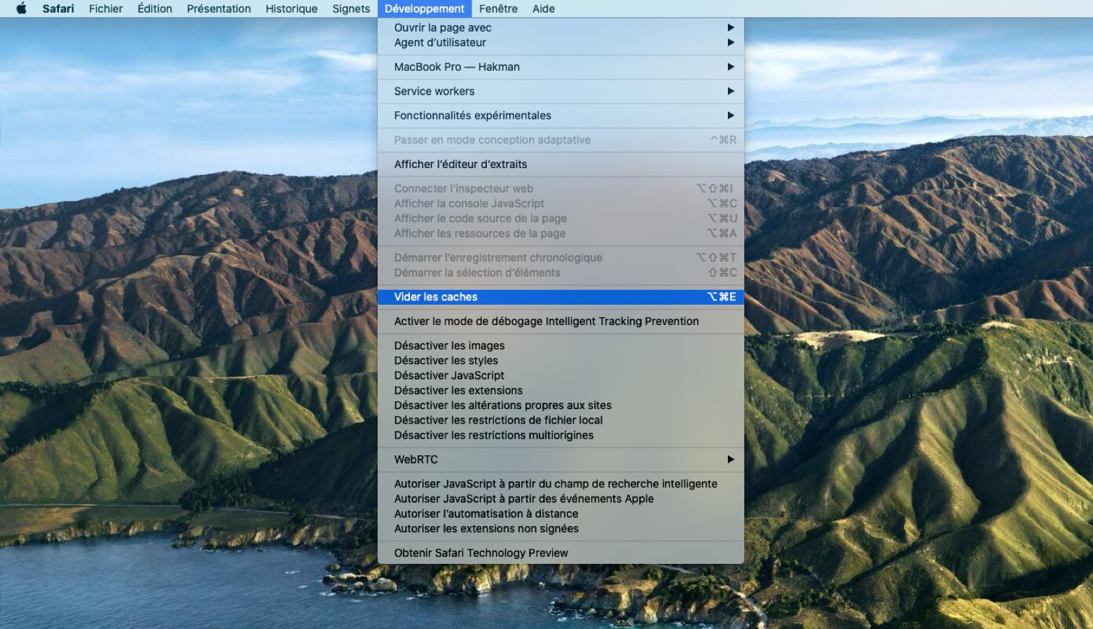 Vider le cache du navigateur Safari sous Mac