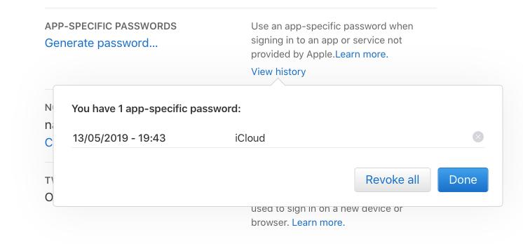 view app specific password iCloud
