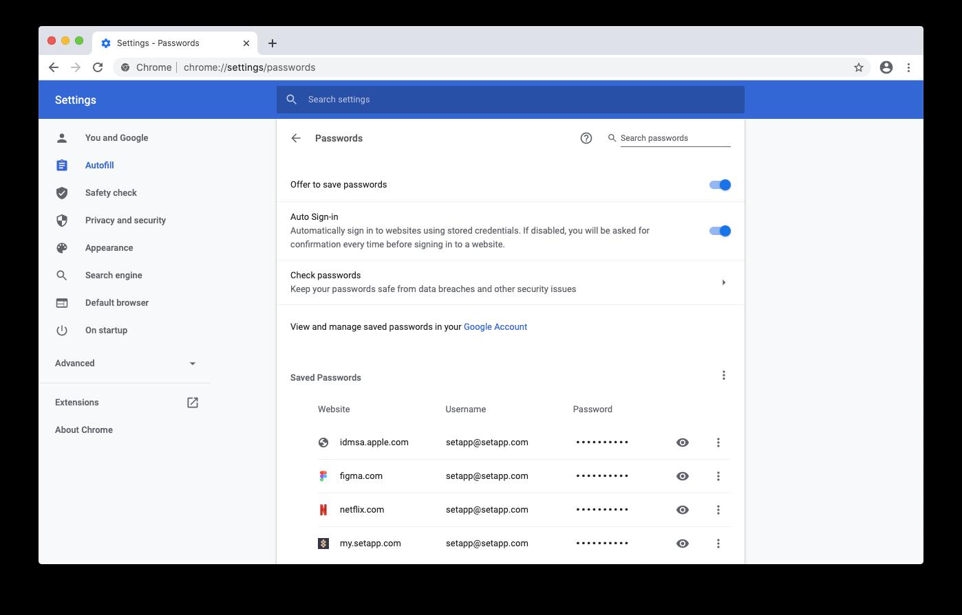 view saved passwords google chrome mac