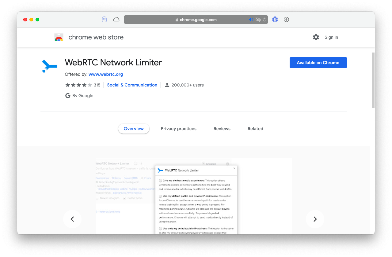 WebRTC Network Limiter