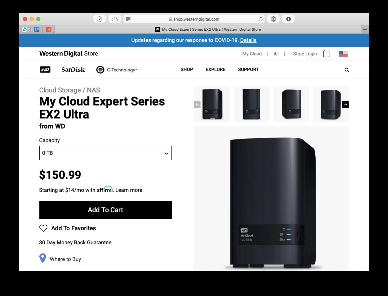 Western Digital My Cloud Expert NAS storage solution