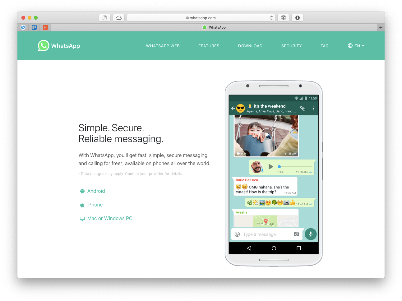 WhatsApp messaging global Mac app