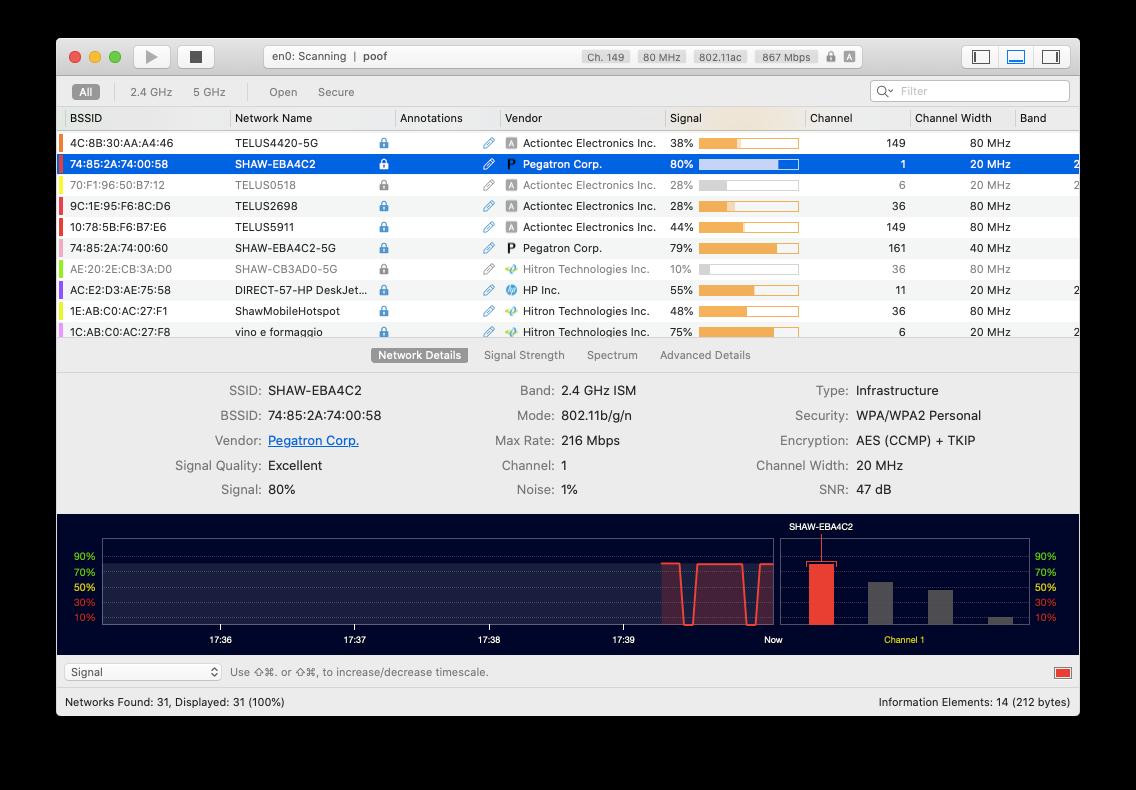 WiFi Explorer analyze Mac network