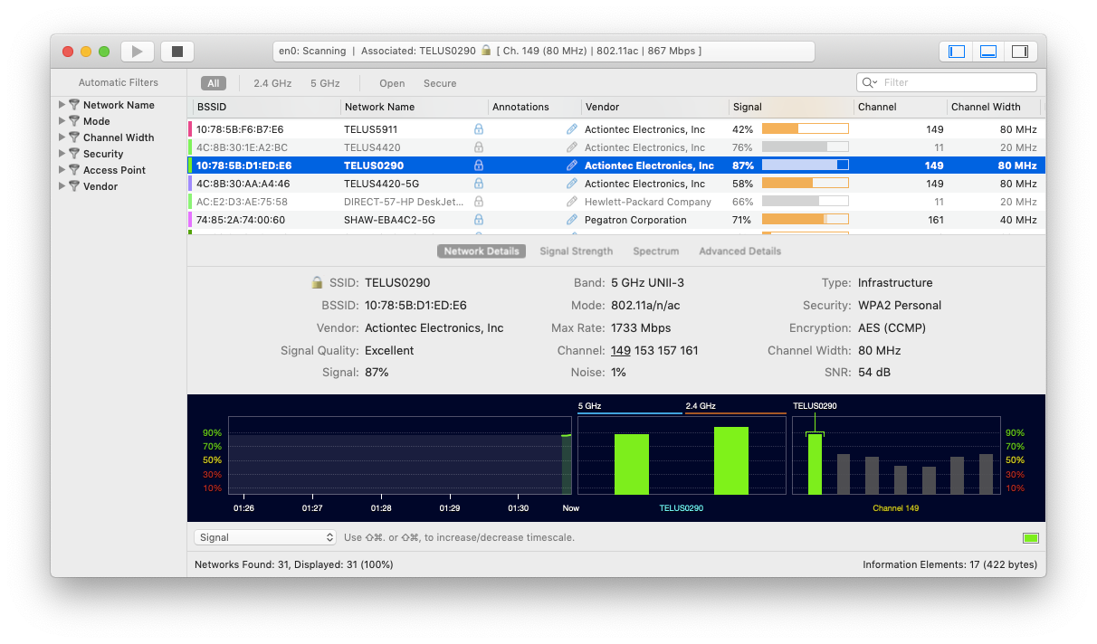 wifi explorer analyze mac