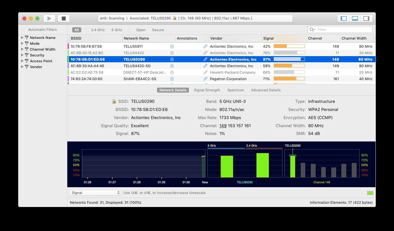 wifi explorer analyze mac