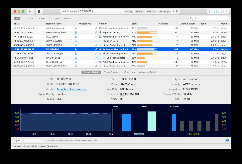 WiFi Explorer monitor home network