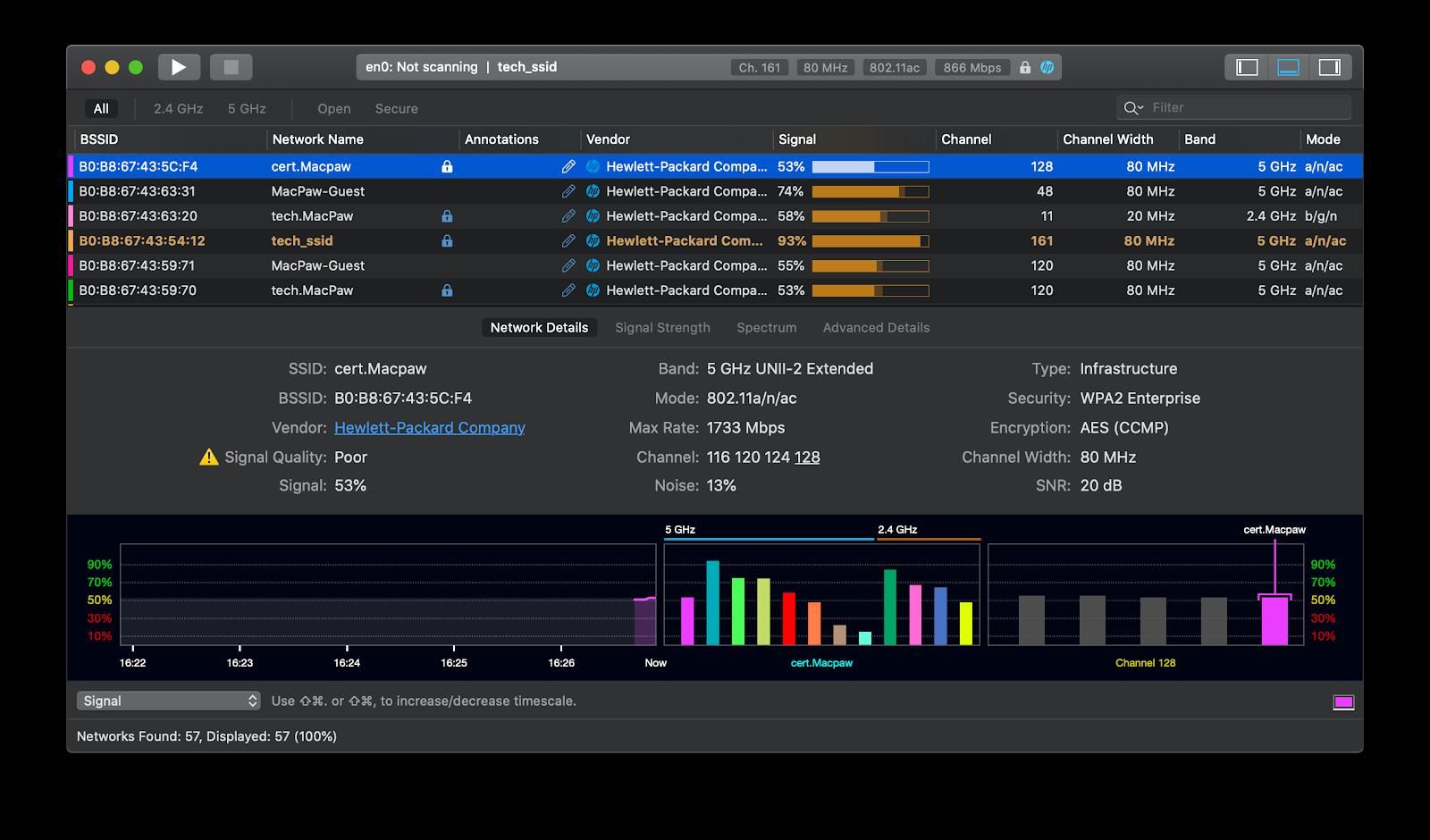 WiFi Explorer network connection optimizer app