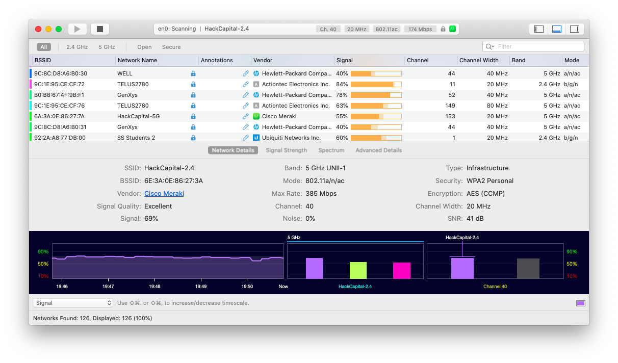 Measure the quality of a network with WiFi Explorer