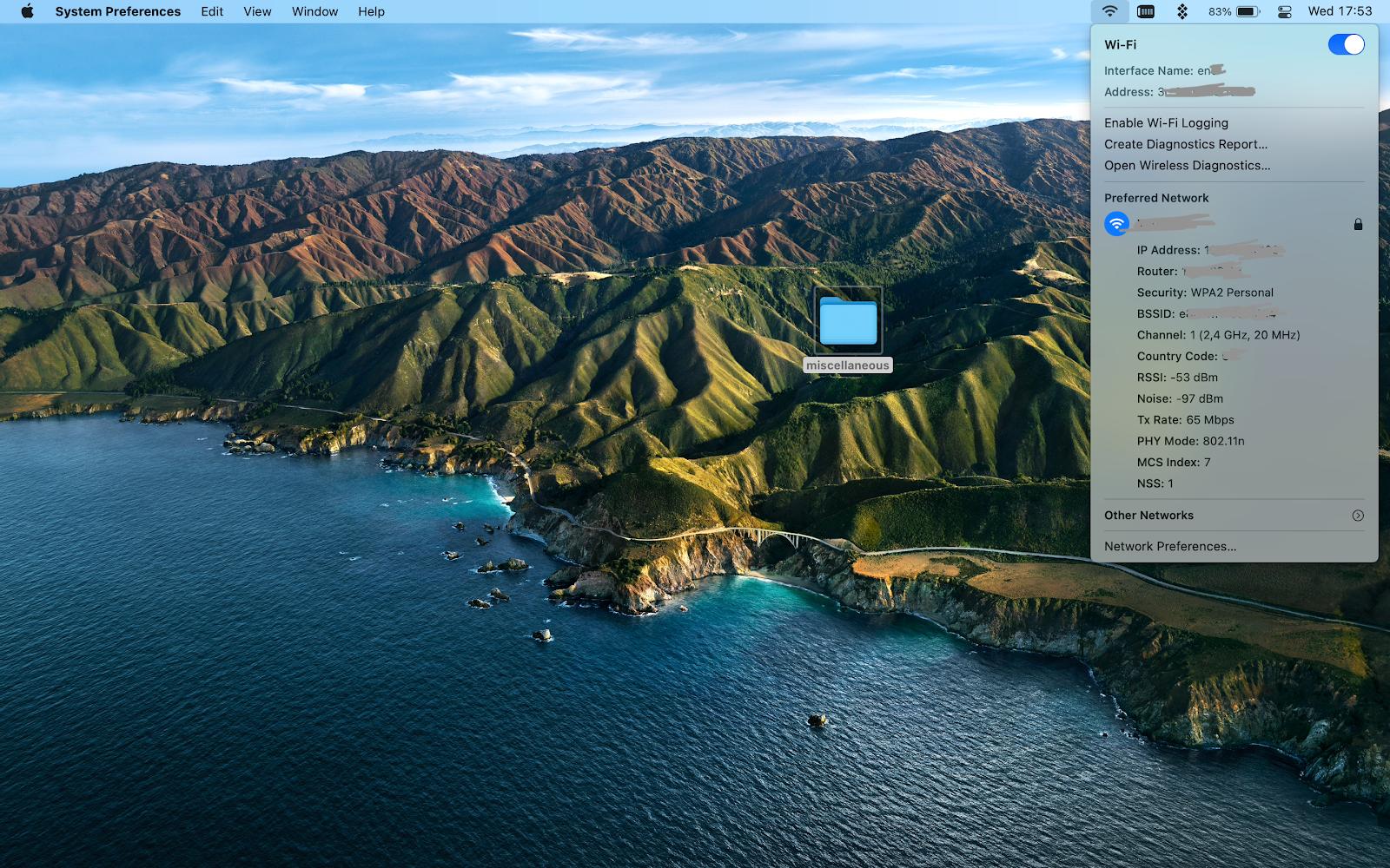 wifi parameters mac