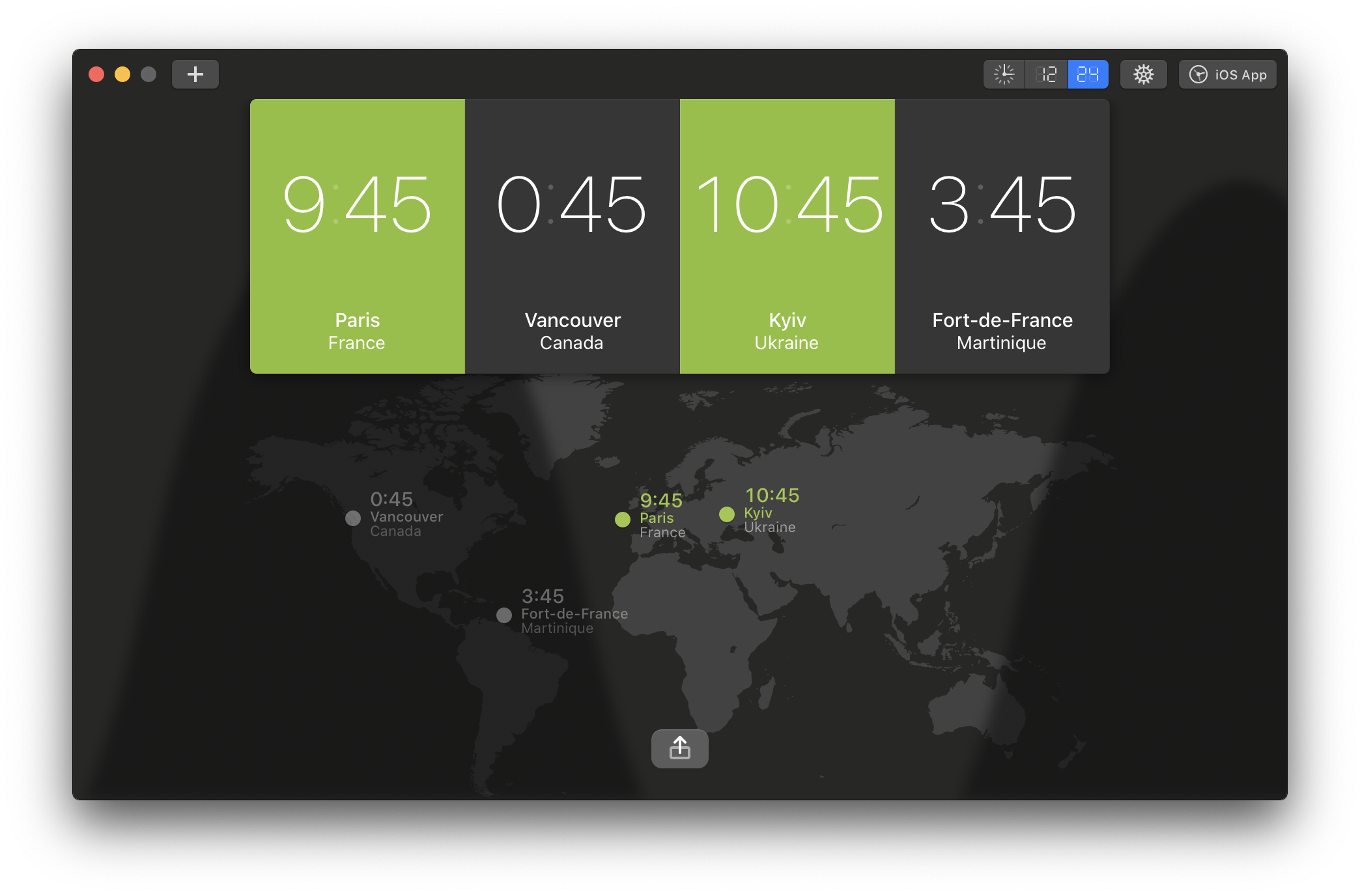 Application pour Mac World Clock Pro