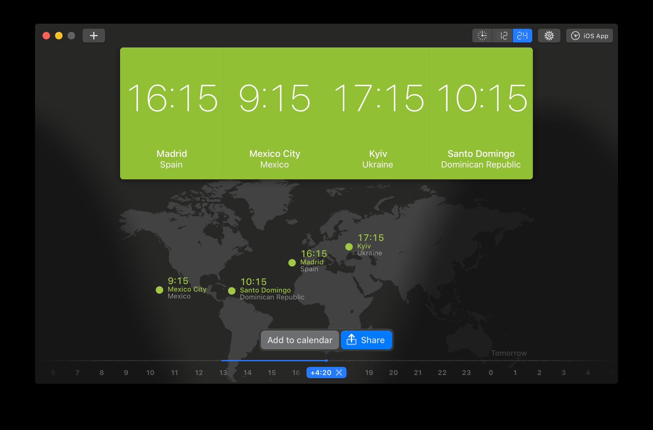 App para Mac World Clock Pro
