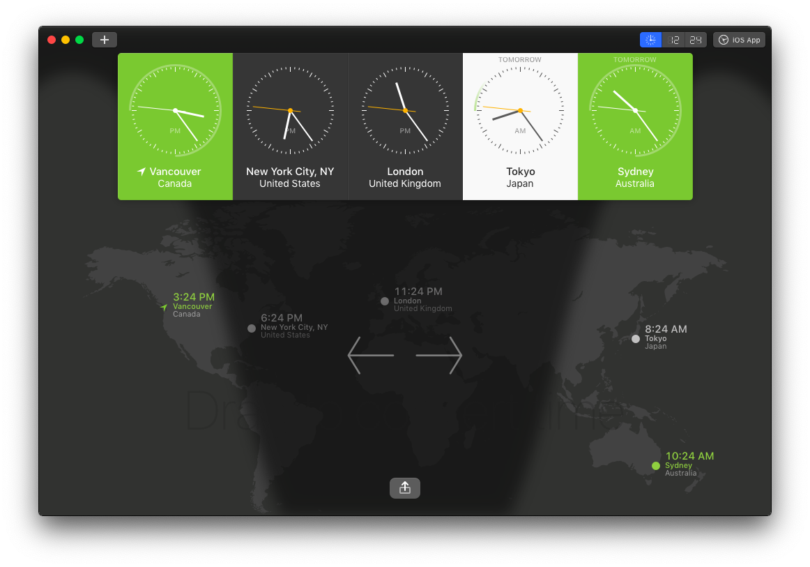 Display multiple clocks in different time zones