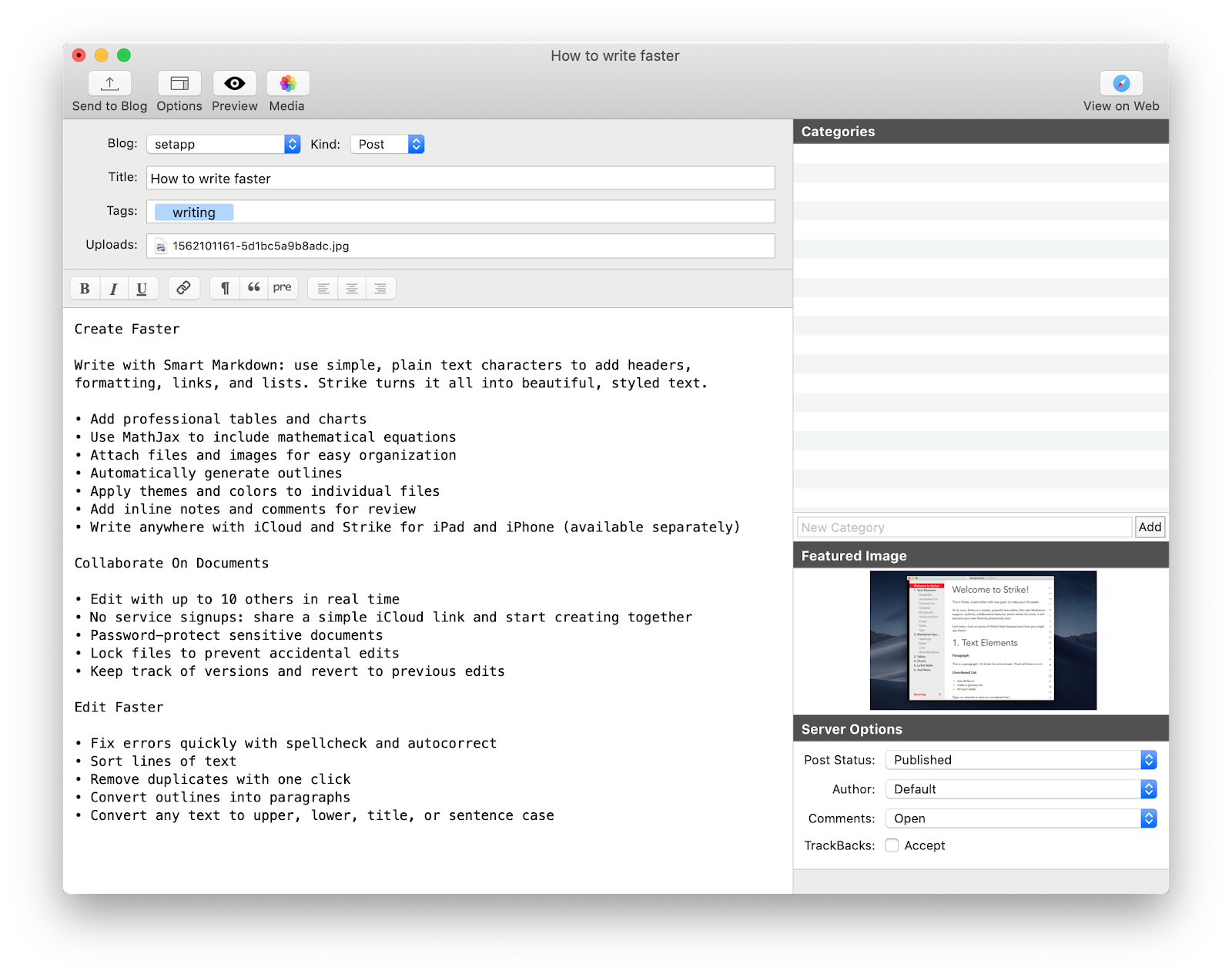 Write faster with MarsEdit app