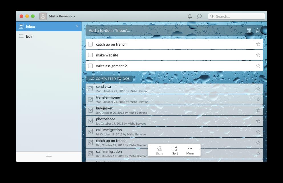Wunderlist mac app to do manager