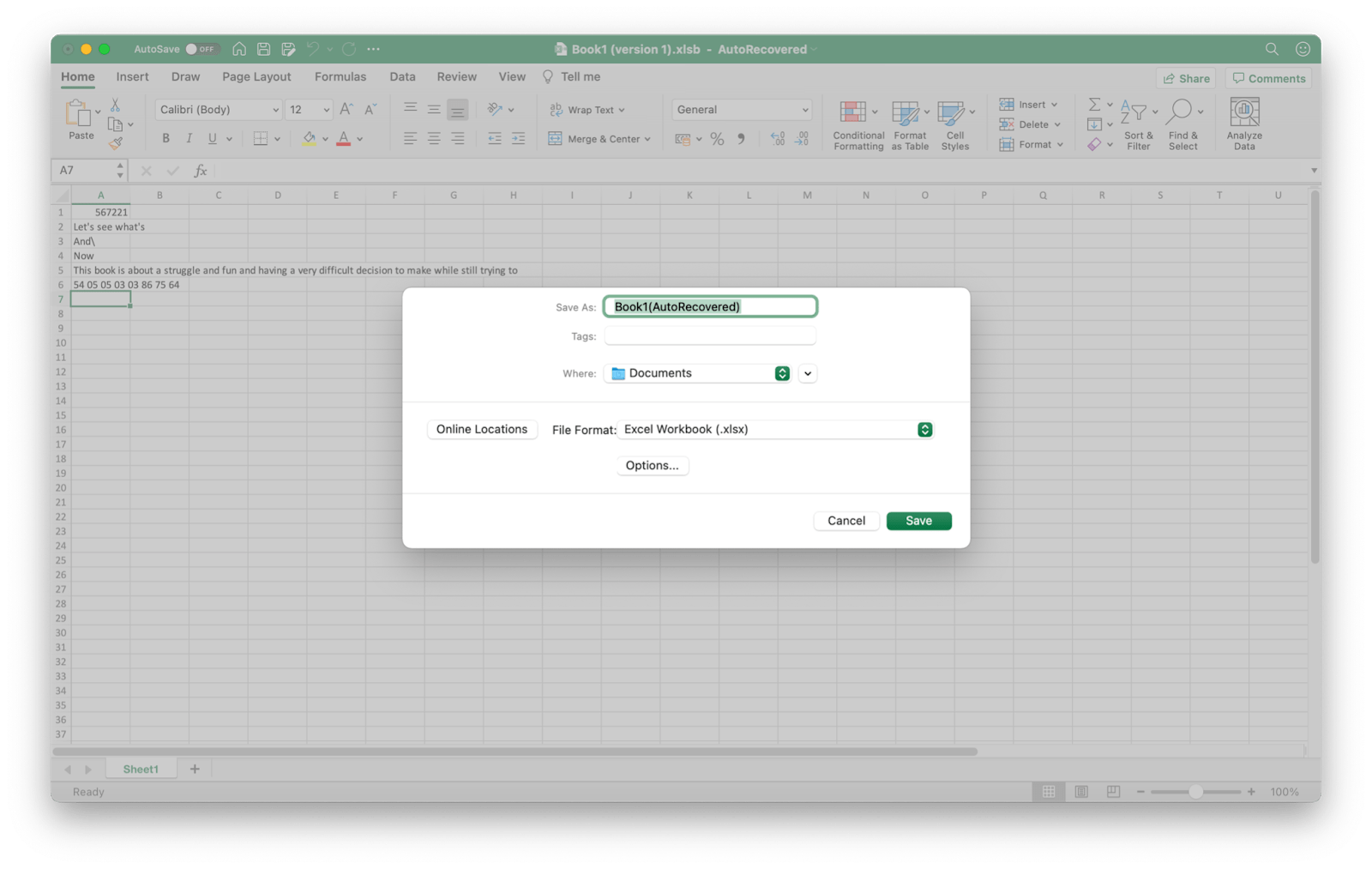 recover an excel file autorecovery
