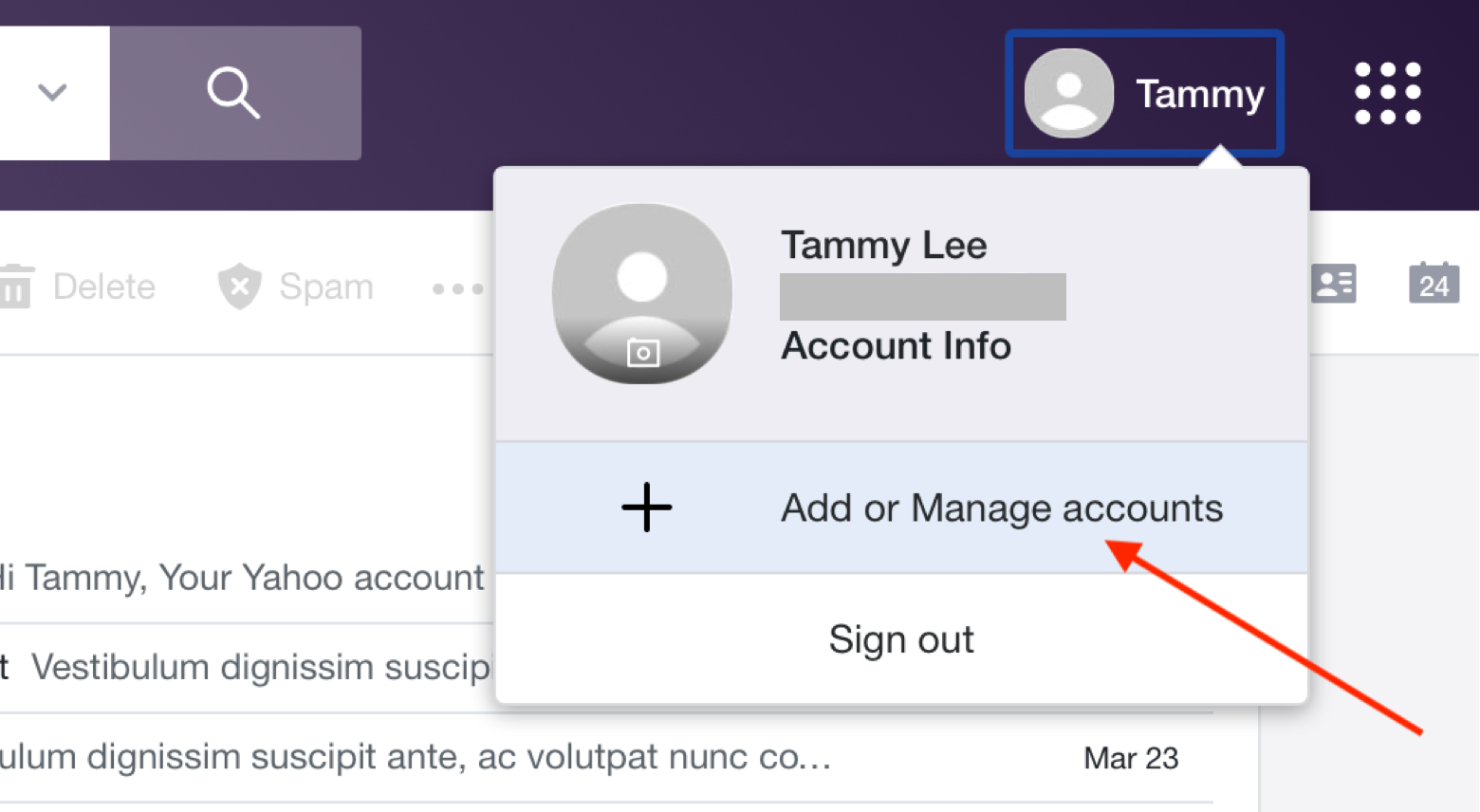 manage your Yahoo email account