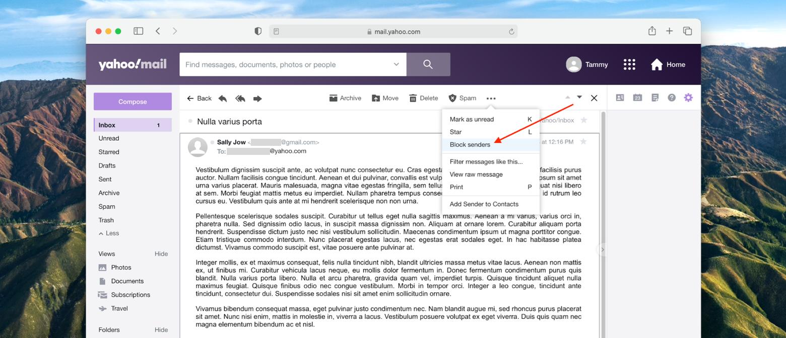 block sender from message in Yahoo