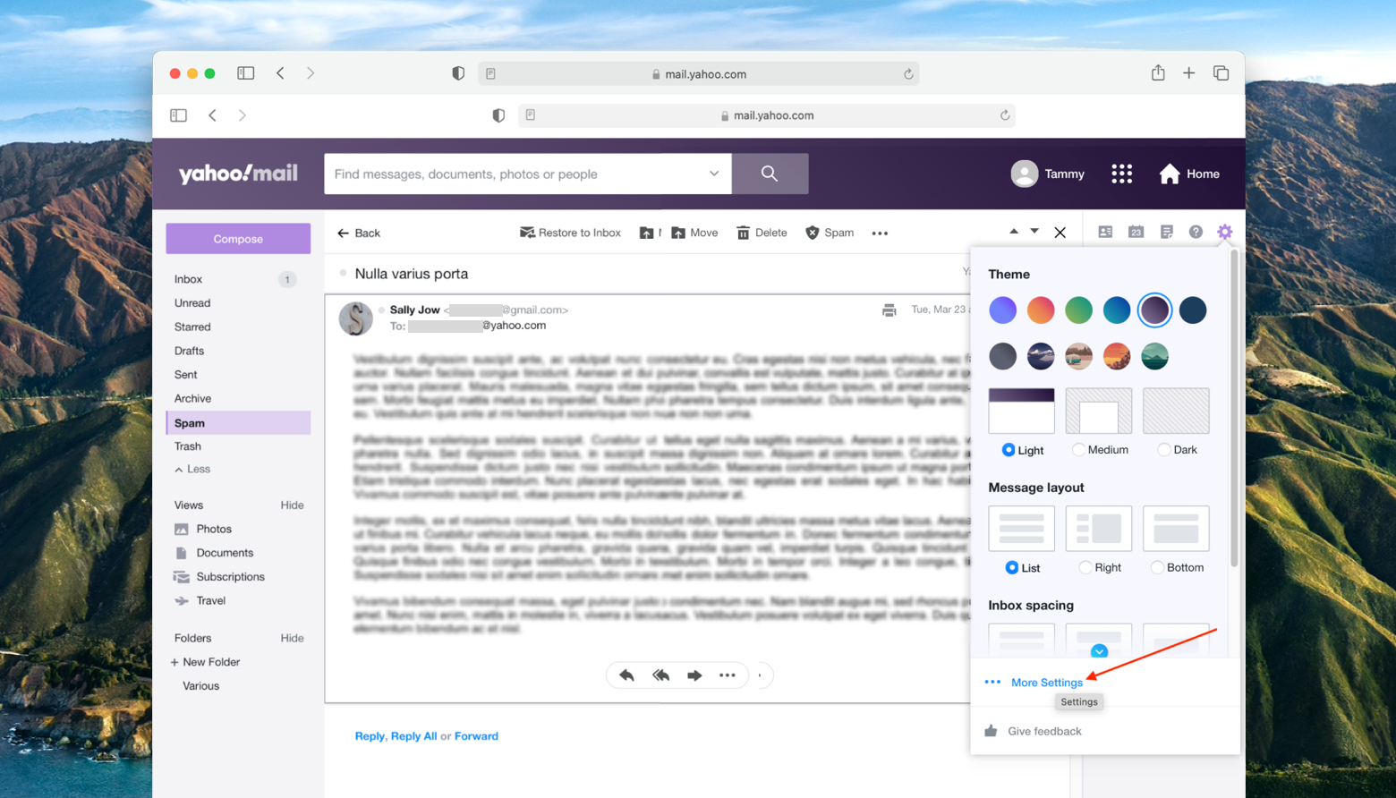 go to Yahoo mail settings