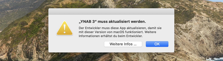 """Fehlermeldung: App ist """"nicht für deinen Mac optimiert und muss aktualisiert werden"""""""