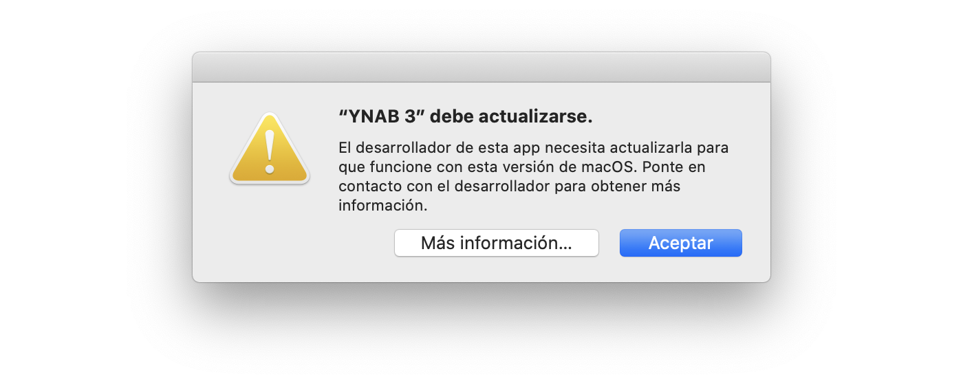 Error message: app is not optimized for your Mac and needs to be updated