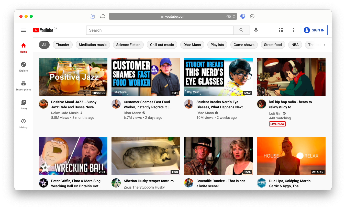Browse YouTube while incognito