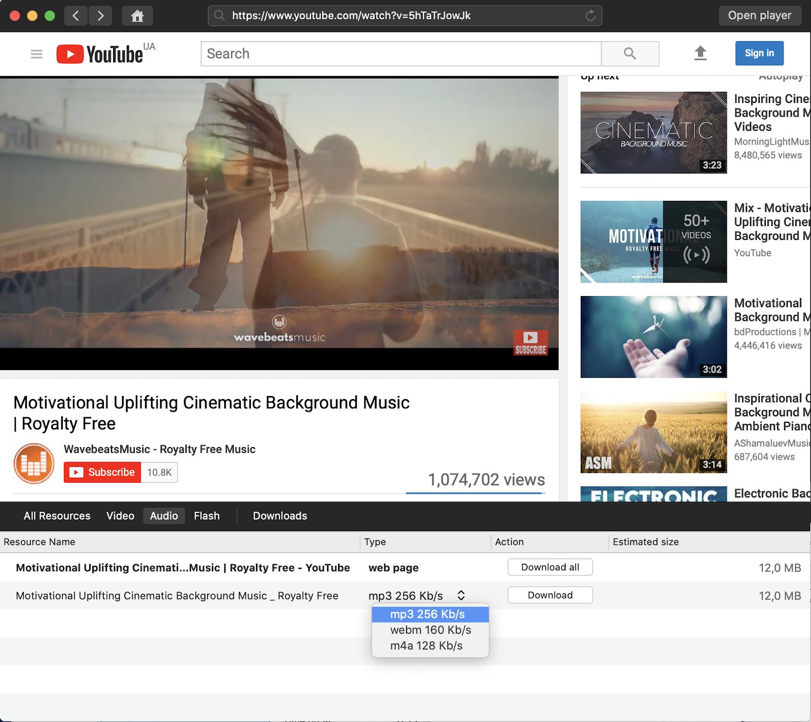 Salve músicas do YouTube em mp3