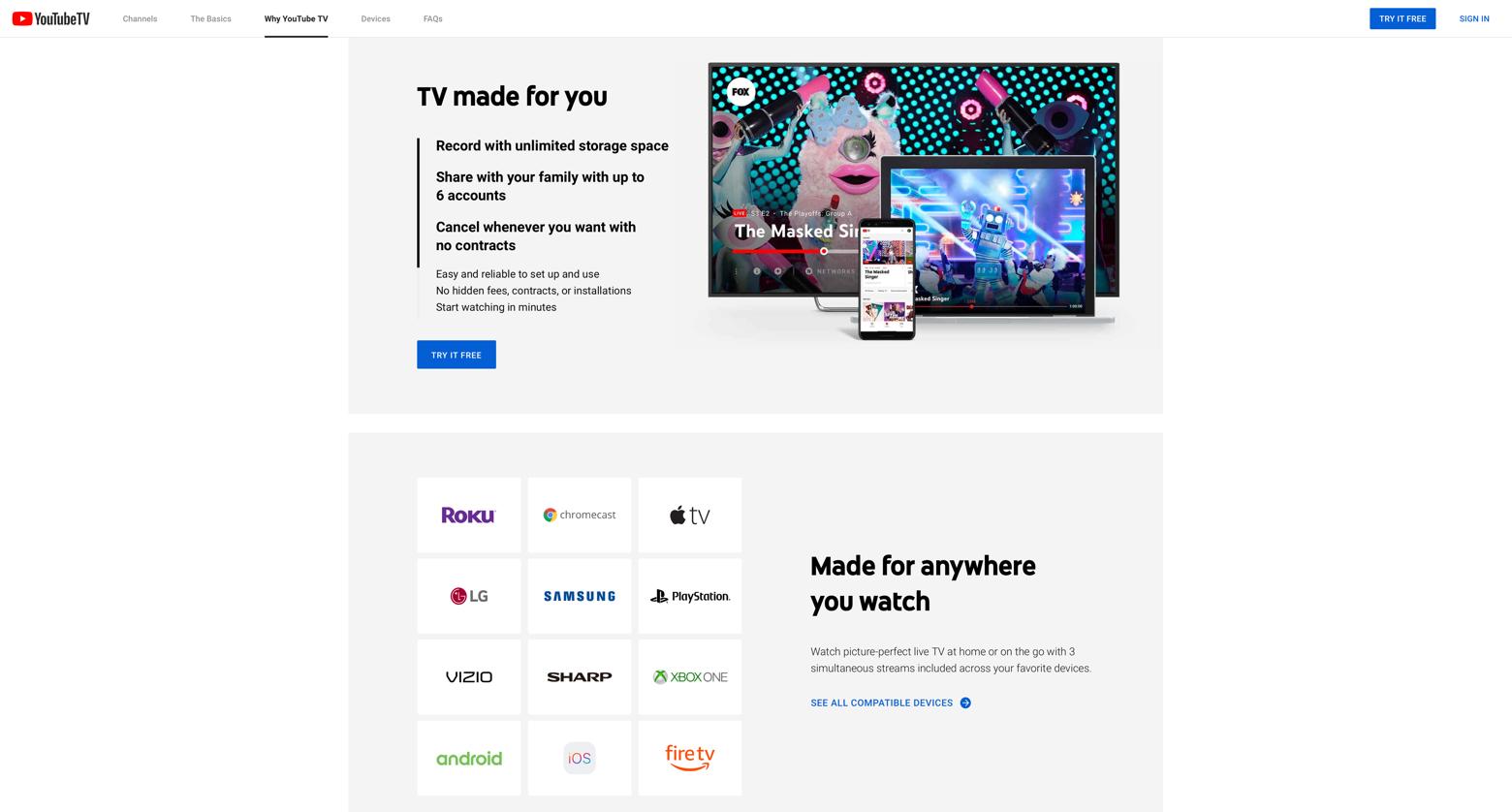 YouTube TV website