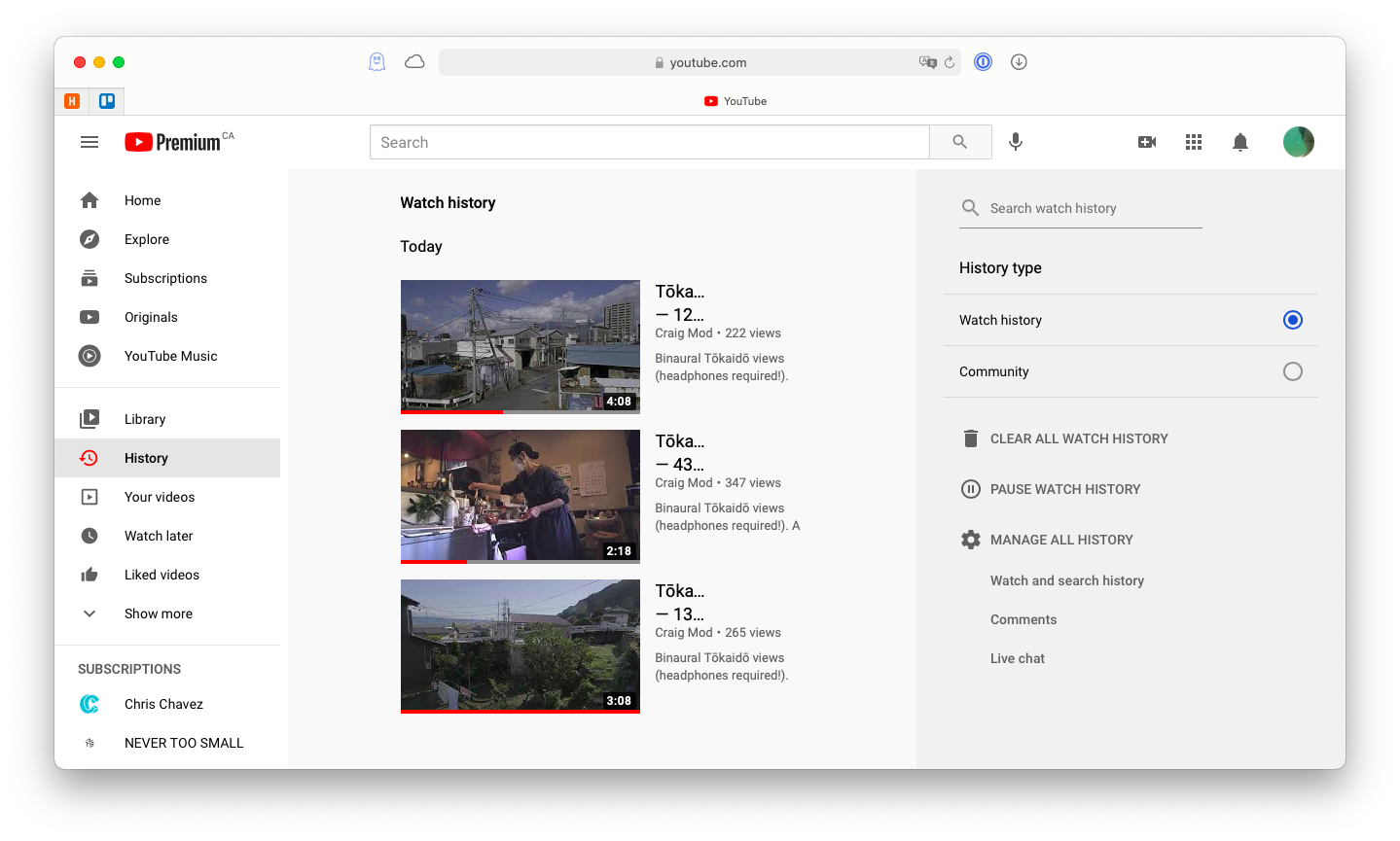 YouTube's watch history