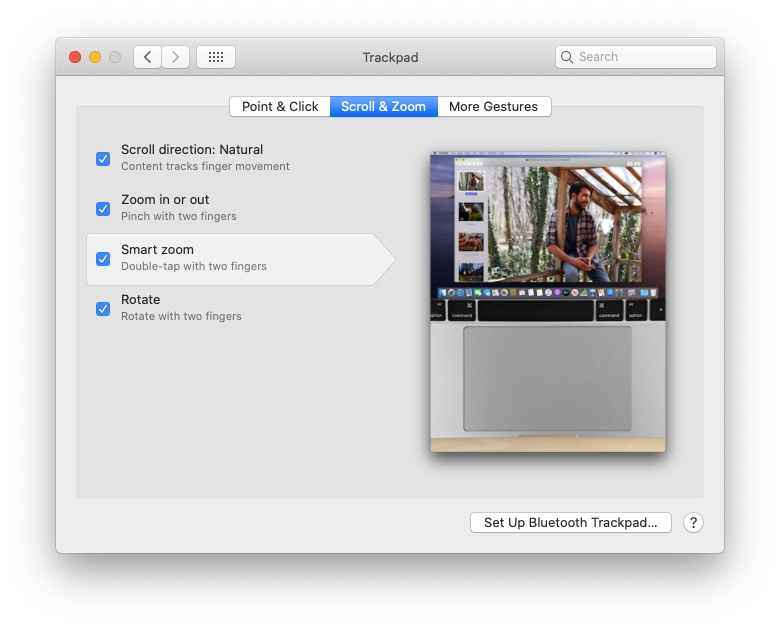zoom Mac trackpad gestures